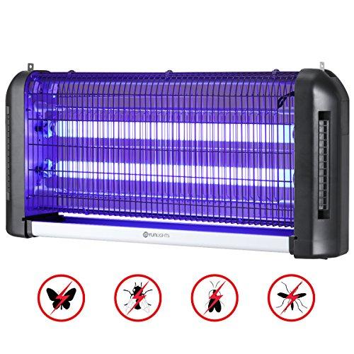 YUNLIGHTS - Repellente per Mosche insetticida, 30 W, UV LED, Anti-zanzare, per Interni ed Esterni, Colore: Nero