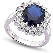 Mr Dora - Anello da Donna in lega placcata Oro Bianco con cristallo austriaco Blu, stile anello di Kate Middleton, Taglia: 52