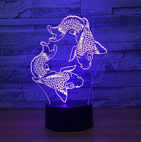 NANIH Home Animal Carp 3D Night Light Lámpara de Escritorio Estéreo con...
