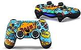 Skins4u Film de protection autocollant pour manette de Playstation4 de Sony, y compris PS4 Slim et PS4 Pro, Comics Blue