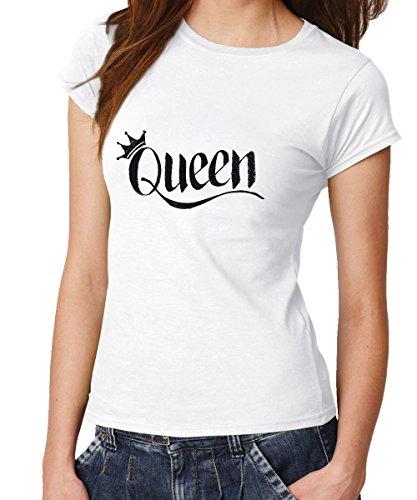 KING & QUEEN ::: Pärchen T-Shirt Weiß mit schwarzem