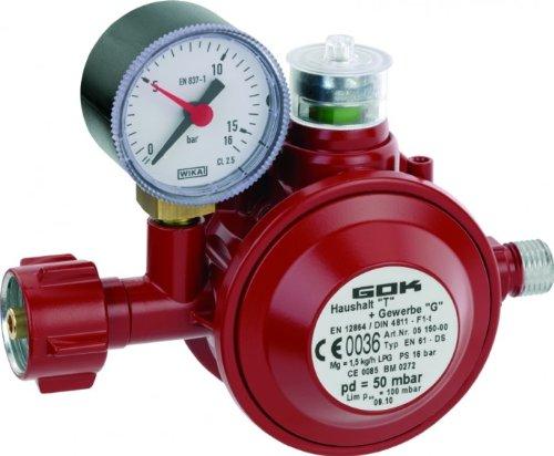Top-ventil Regler (GOK Haushaltsregler / Gasregler für den Einsatz in geschlossenen Räumen, Betriebsdruck:50 mbar 1,5kg/h PS16Bar