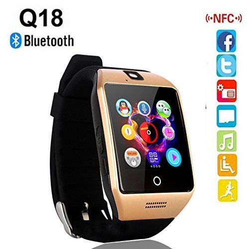Lenovo P70 Compatible Certified Bluetooth Q18 Smartwatch Smart Wrist Watch with Camera and TF 2G / 3G / 4G SIM Card Support Premium Quality Smart watch with Apps like Facebook Whatsapp QQ WeChat Twitter Functions Like Time Scheduling Messaging News Health Monitoring Pedometer Sedentary Remind & Sleep Monitoring Smartwatch with Better Display Loud Speaker Microphone Touch Screen and Multi-Language by MAKECELL (Colour : Golden)  available at amazon for Rs.2449
