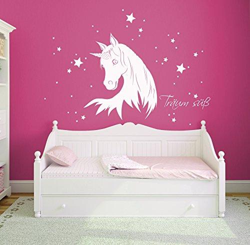 Wandtattoo Einhorn Einhörner Einhornwandtattoo Kinderzimmerdeko Einhorn mit Sternen und Namen M1217 (weiß)