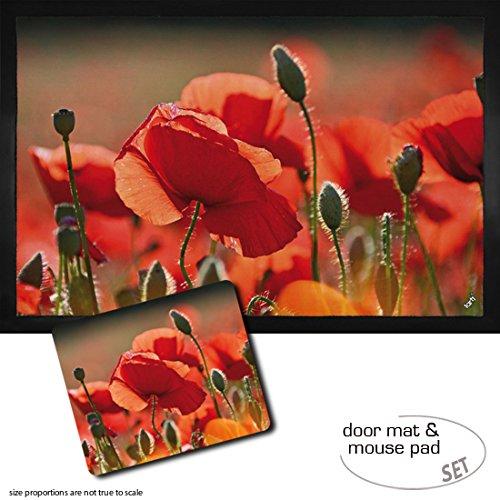 Set: 1 Fußmatte Türmatte (60x40 cm) + 1 Mauspad (23x19 cm) - Mohnblumen, Rote Mohnblumen, Blüten Und Knospen