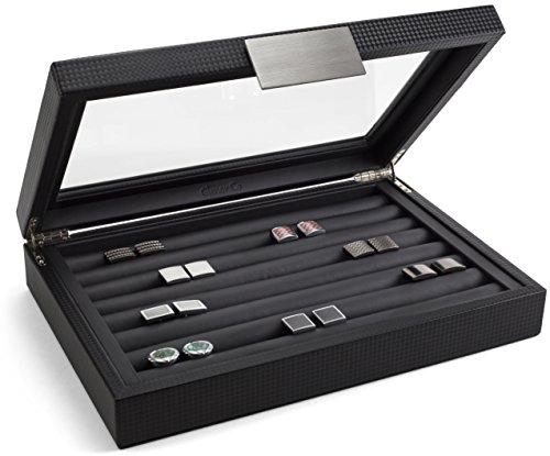 Glenor Co Manschettenknöpfe Box für Herren-für 70Manschettenknöpfe Display Schmuck Fall, Karbonfaser-Design-Metall Schnalle Halter, großer Glasplatte-Schwarz