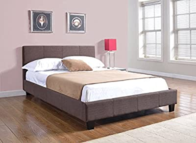 4ft6 Double Fabric Prado Bed Frame In Brown - inexpensive UK light store.
