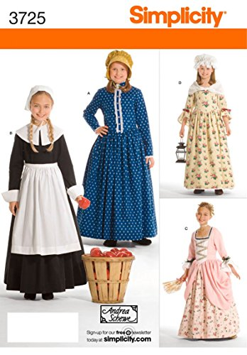Simplicity Schnittmuster 3725K5Für Kinder und Mädchen - Colonial Girl Kinder Kostüm