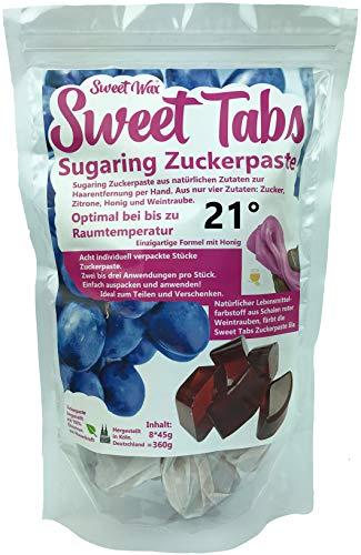 Sweet Tabs 21° Lila Brazilian Wax. Einfach auspacken, kneten und anwenden. Enthaarungswachs aus Sugaring Zuckerpaste zur Haarentfernung per Hand. Keine Vliesstreifen oder Erwärmen nötig. 8 * 45g =360g