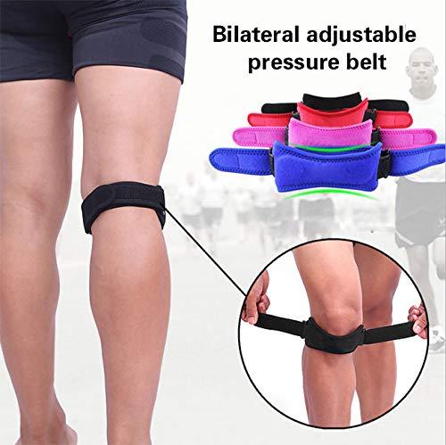 PintoMed Knieschutzgurt, einstellbare Kniesehnenunterstützung, effektive Bänder- / Gelenkschmerzentlastung, ideal für das Knie eines Jumpers/Runner's, Patella Tracking Disorder - SCHWARZ - 2 Units -