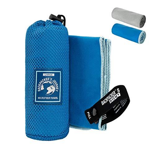 Backpacker's Journey Mikrofaser Handtücher in S M L XL. Reisehandtuch Sets leicht, schnelltrocknend, saugfähig und antibakteriell (blau S) -