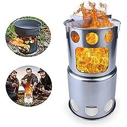 SHUNING Estufa de camping Estufa de leña Cocina al aire libre Excursiones Estufas Mochilero Quemador para viajes (Type 1)