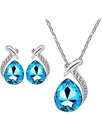 Aqua Blue Rhodium Plated Winsome Dewdrop Crystal Pendant Set With Chain For Women By Parisha Jewells NL9007008