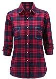 Dioufond® klassisch Damen Slim Kariert Bluse Freizeit Taschen-Stickerei Hemd Flanellbluse Plaid Shirt(3XL, Rot)