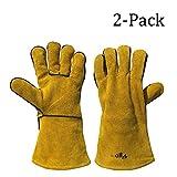 Vgo Glove luxueux Gants de Travail Cuir anti chaleur, Réfractaires, Polyvalents pour le Grill / Soudage / Cheminée / Four / Barbecue etc (2 Paires, 34.5 cm en longeur, Blanc, Jaune d'or ou Bleu)