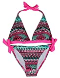 EONAR Damen 2PCS Bademode Push-Up Triangel-Bikinioberteil mit Nackenträger Bikini-Sets(XL,M-Pink)
