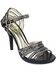 Aarz Mujeres del partido de tarde de las señoras de baile de la boda del alto talón de Diamante de la sandalia nupcial tamaño de los zapatos (Oro, Plata, Negro, Champagne, Rojo)