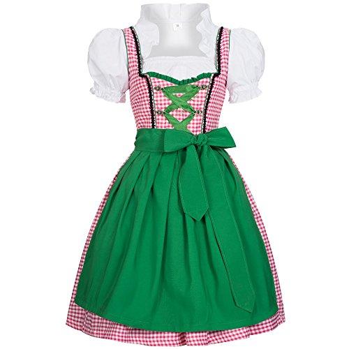 Dirndl Joy rosa weiß kariert mit Schürze in grün Gr. 44