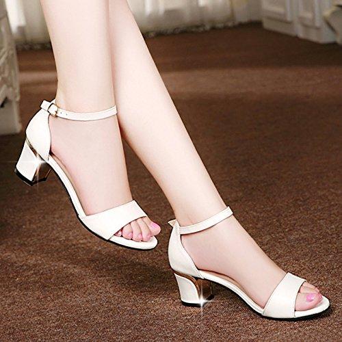 La mode des femmes d'été confortables sandales hauts talons,38 black white(with tall 4cm)