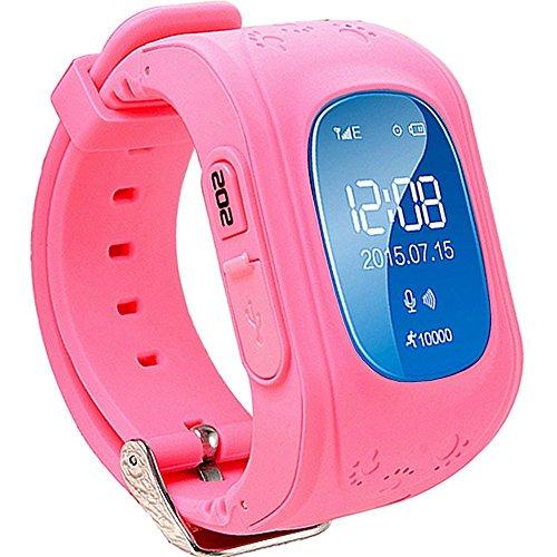 TURNMEON GPS Smart Watch Kid Safe pour smart Montre bracelet SOS Appel Location Finder Locator Tracker for Child Anti Perdu Moniteur pour enfant (rose)