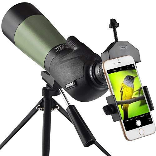 Gosky 20-60x60mm Spektiv, wasserdicht, stoßfest, mit Stativ & Digiscoping Adapter, BAK4 Prismen