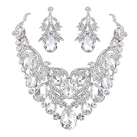 Clearine Women's Bohemian Boho Teardrop Filigree Leaf Hollow Statement Necklace Dangle Earrings Set Clear