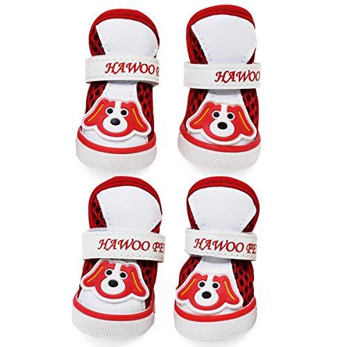 KEESIN Atmungsaktive Mesh-Hundestiefel, Rutschfester Gummisohlen-Pfotenschutz, Hundeschuhe mit Verstellbaren Reflektierenden Trägern für Kleine Hunde (#2)
