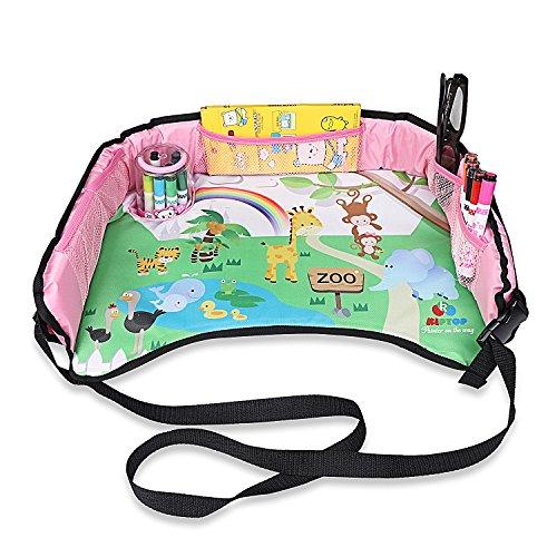 Preisvergleich Produktbild KIPTOP Kinder Auto Knietablett Nette Tierdrucke Sketchpad Multifunktions Reise Tablet Speicher Netzbeutel Esstisch Tablett für Kinder - Rosa