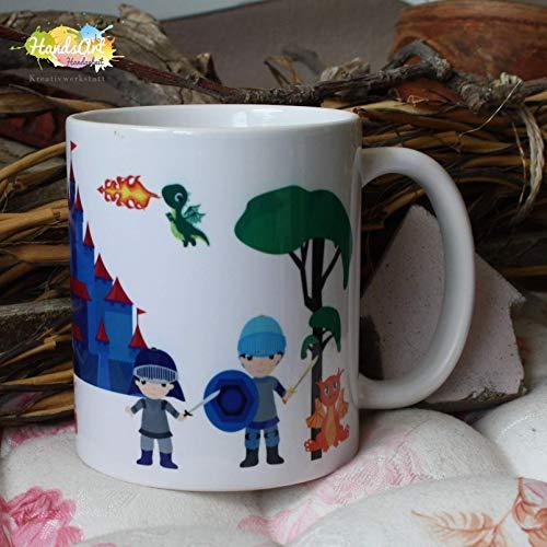 Kaffeebecher ~ Tasse - Ritter und Drachen ~ Weihnachten Kind Junge Geschenk