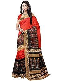 Rangreza Women's Cotton Silk Saree With Blouse Piece (Pgzsaree023 ,Multicolor Free Size)