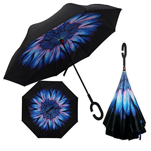 MYC Yi Lian inverso pieghevole doppio strato invertito Umbrella anti-UV e ombrelloni e la pioggia con le mani a forma di C-libera della maniglia, le migliori compatto da viaggio Ombrello per l'auto (blu)