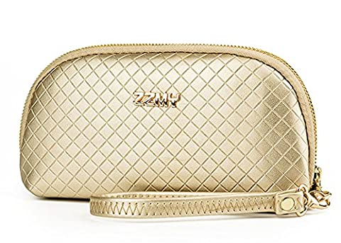 Fanova Gold PUleather Clutch Women Party Phone Handbags Zipper Wristlets Wallets Purse Wrist Strap Men