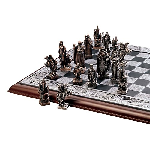 Design Toscano Figur Mystical Legends Chess Set (Pieces and Board), beige