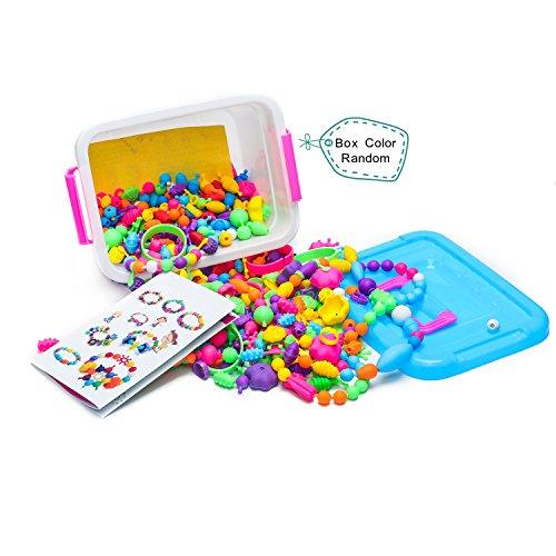 Pop Perlen Schmuckn,485pcs Spielzeug,DIY Fashion Perlen Set für Halskette Armbänder und Ringe Handwerk Geschenk für Mädchen. (Zusammen Perlen Snap)