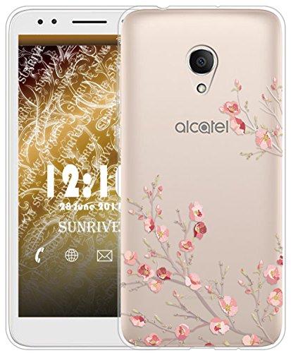 Sunrive Für Alcatel 1X Hülle Silikon, Transparent Handyhülle Schutzhülle Etui Case für Alcatel 1X 5059D(TPU Blume)+Gratis Universal Eingabestift