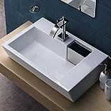 BTH: 65x44x12,5 cm Design-Aufsatzwaschbecken aus Keramik inkl. Lotus-Effekt | Brüssel819 | Waschschale/Waschbecken / Waschtisch