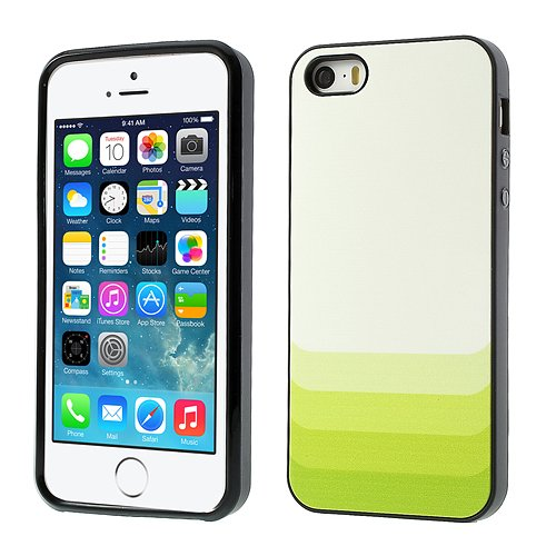 [A4E] passend für Apple iPhone 5 5S, stylische Hülle Schutzhülle, Hartschale und TPU Bumper, mit Farbverlauf in weiß / grün