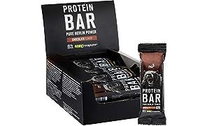 nu3 Protein Bar - 40% Protein mit Schoko Geschmack - 12 x 50 g High Proteinriegel - 20 g Eiweiß pro Bar - Mit Kreatinmonohydrat von Creapure - nur 0,8 g Zucker je Riegel - aus Milch- und Whey Protein