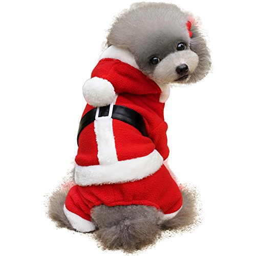 Pet Dog Kleidung, Santa Claus Weihnachten Kostüm – Hoodie Puppy Fancy Dress Party Kleidung – Rot – polyhymnie (Weibliche Santa Claus Kostüme)