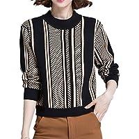 ALUK- Otoño e invierno cuello redondo suéter a rayas Joker corto párrafo tocar fondo camisa mujeres ( Color : As shown , Tamaño : Metro )
