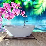 azutura Rosa Orchidee Blume Wandbild Blaues Wasser Foto-Tapete Spa Schlafzimmer Haus Dekor Erhältlich in 8 Größen Groß Digital