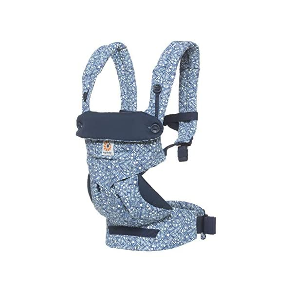 Ergobaby Babycarrier 360 4 Postition Carrier Sunrise Batik Indigo Ergobaby 4 ergonomic carry positions: front-inward, front-outward, hip, & back Weight range: 12- 33 lbs. (from 7-12 lbs. with infant insert, sold separately) Ergonomic seat for baby, adjustable for forward-facing 1