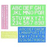 Gobesty Stencil con lettere dell'alfabeto e numeri, set di 4 righelli per decorazione lettere in plastica, pittura, scrapbooking