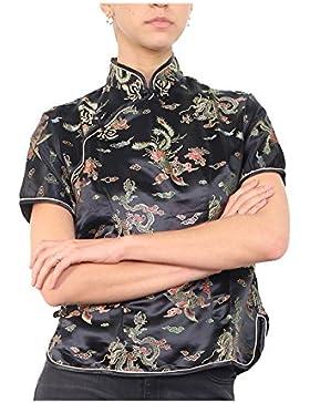 Top china para mujer con mangas cortas y motivo dragones