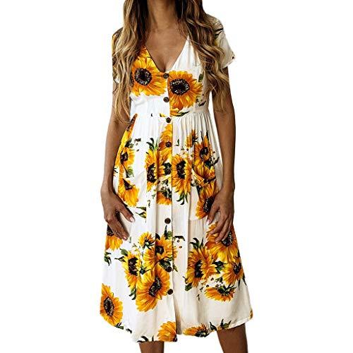 iYmitz Frühling Und Sommer Mode Lässig Gedruckt Sunflower Button Female Dress CocktailTops Abendkleid A-Linie Faltenrock Kleider(Weiß,EU-38/CN-XL) Martini-shaker Top