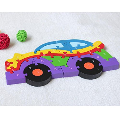 lakshya Wooden 26 Letter Alphabet Learning Block Puzzle for Nursery Kids (A-Z) (car)