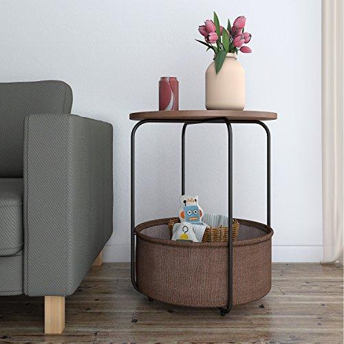 Lifewit Beistelltisch Holz Nachttisch Rund Balkontisch Kaffeetisch Telefontisch Sofatisch Wohnzimmertisch mit Großem Stauraum Eisengestell (Braun Groß)