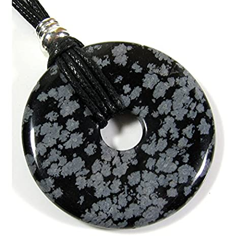 Black Grey Pendant Necklace Unique Snowflake Obsidian Free Gift Box