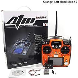 StageOnline Transmisor de RC para Drone/Quadcopter / helicóptero de ala Fija Planeador, RadioLink AT10 2.4 G 10CH Transmisor con Receptor R12DS y módulo de Retorno de tensión PRM-01