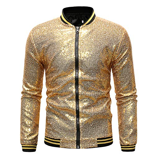 GELing Mens Sequin Jacket Zip Up Baseball Varsity Bomber Sparkle Metallic Nightclub Disco Jacket,Gold,2XL Varsity Bomber